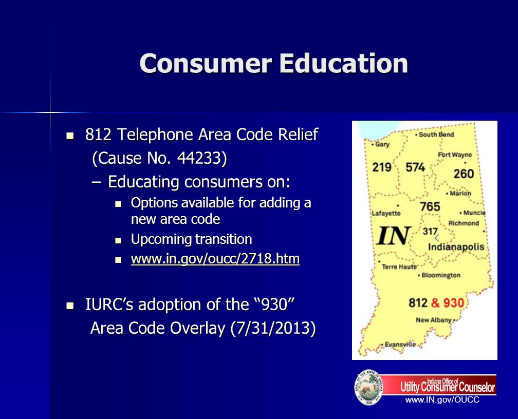 Consumer Education 812 Telephone Area Code Relief (Cause No. 44233)
