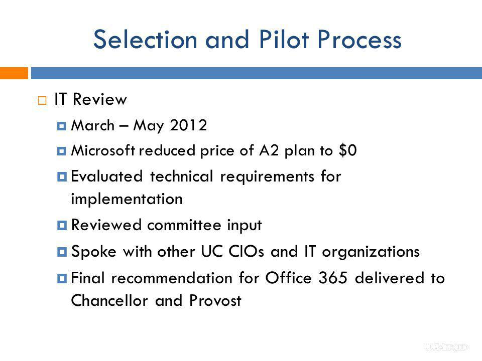 Selection and Pilot Process