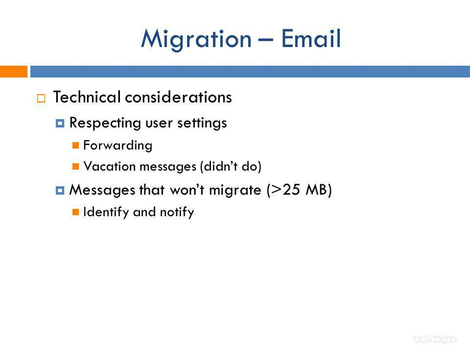 Migration – Email Technical considerations Respecting user settings
