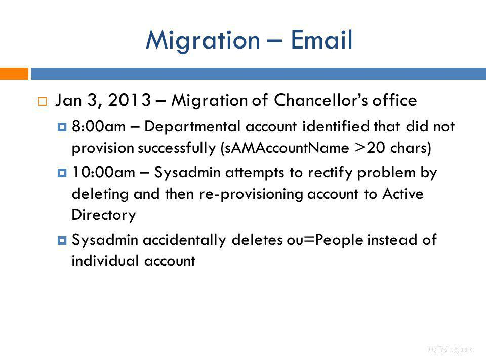 Migration – Email Jan 3, 2013 – Migration of Chancellor's office