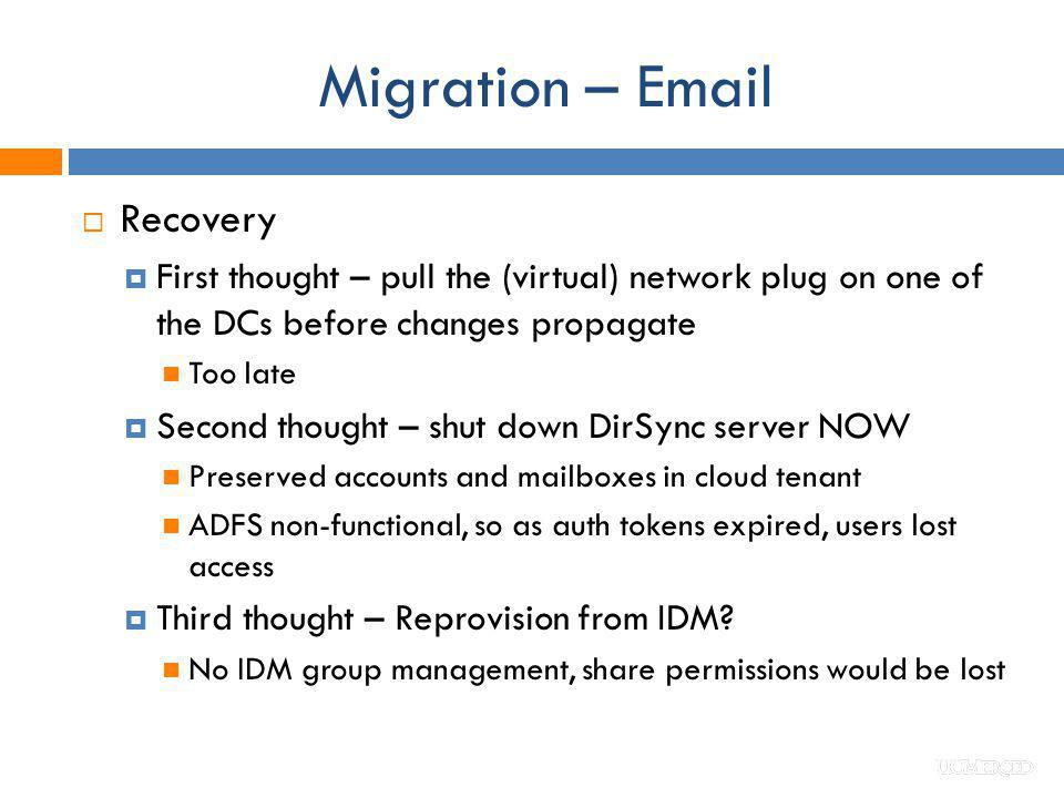Migration – Email Recovery