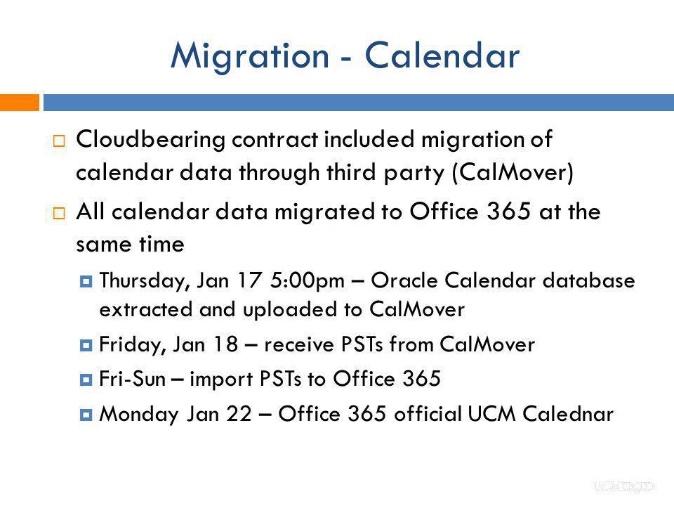 Migration - Calendar Cloudbearing contract included migration of calendar data through third party (CalMover)