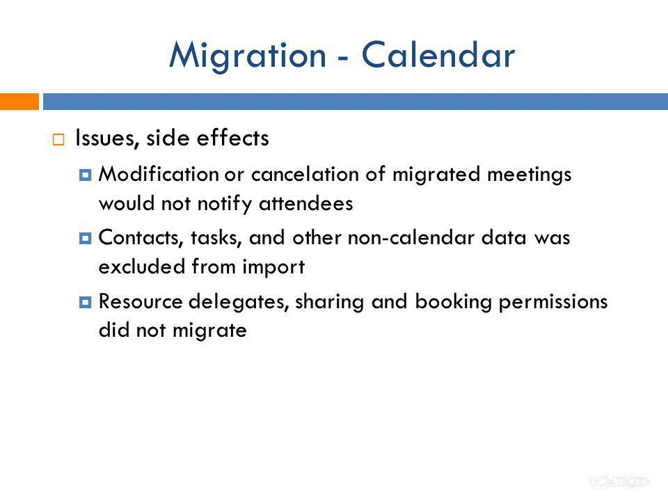Migration - Calendar Issues, side effects