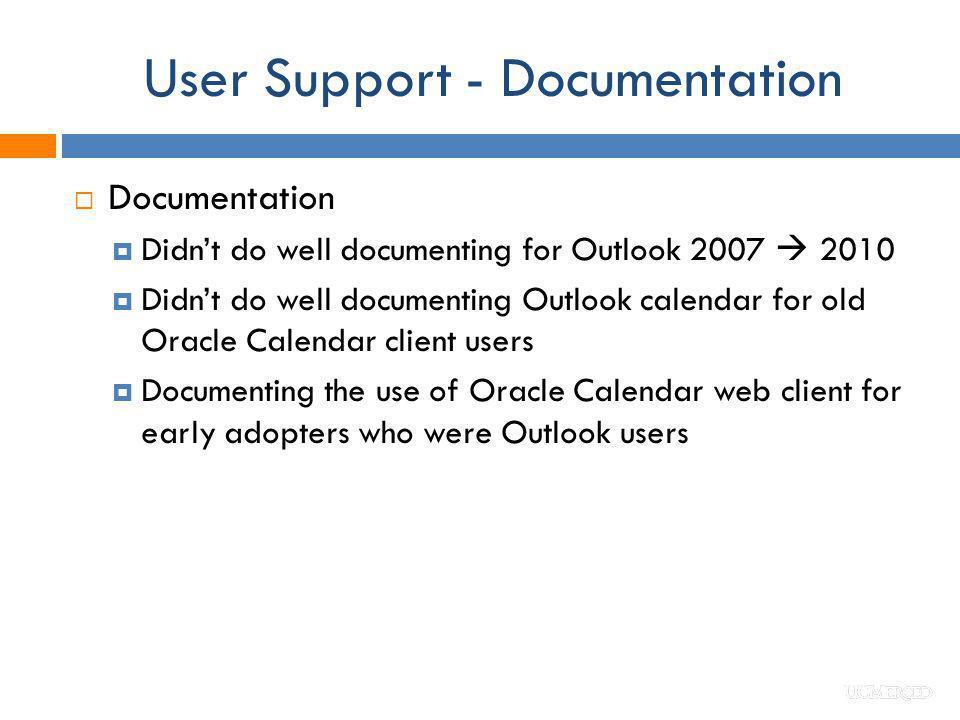 User Support - Documentation