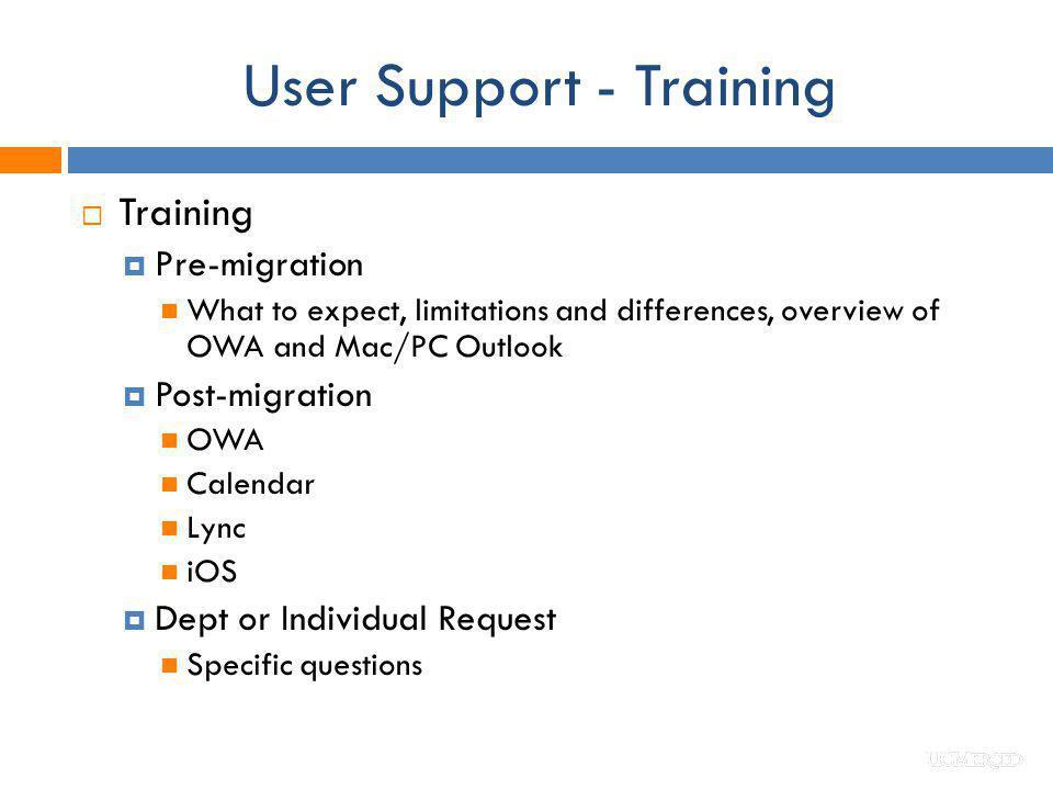 User Support - Training