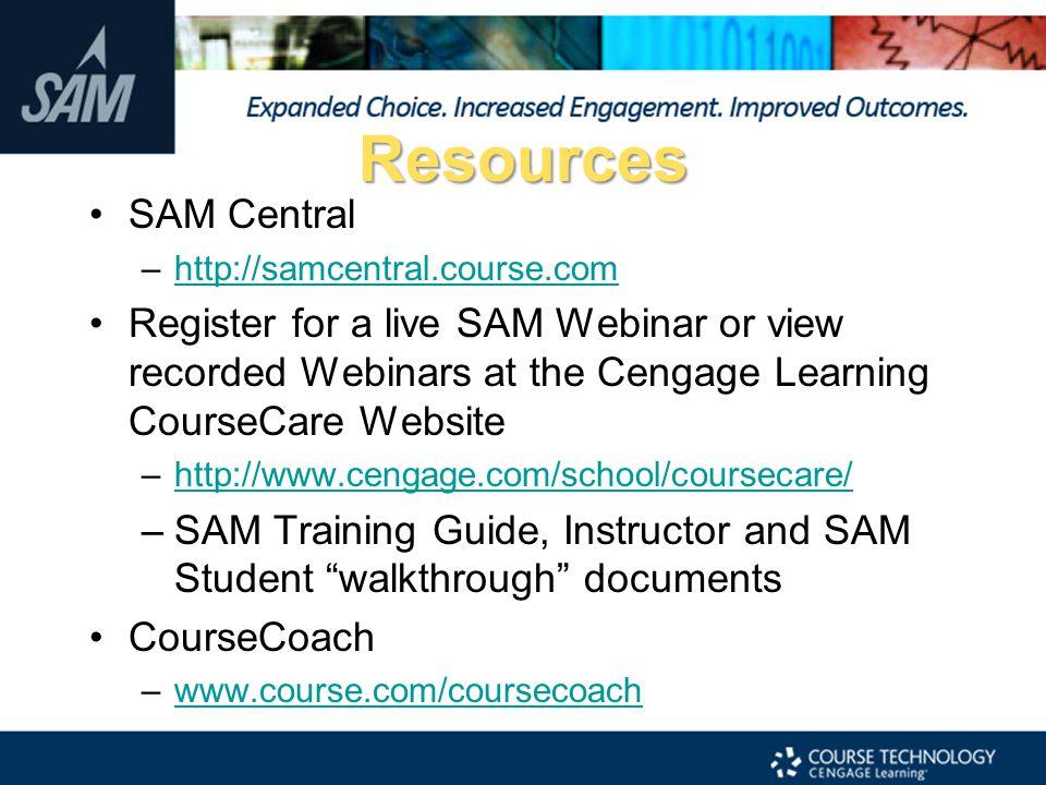 Resources SAM Central. http://samcentral.course.com.