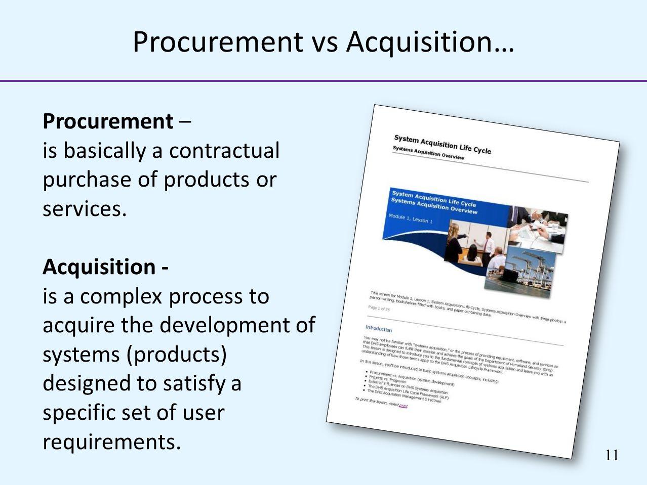 Procurement vs Acquisition…
