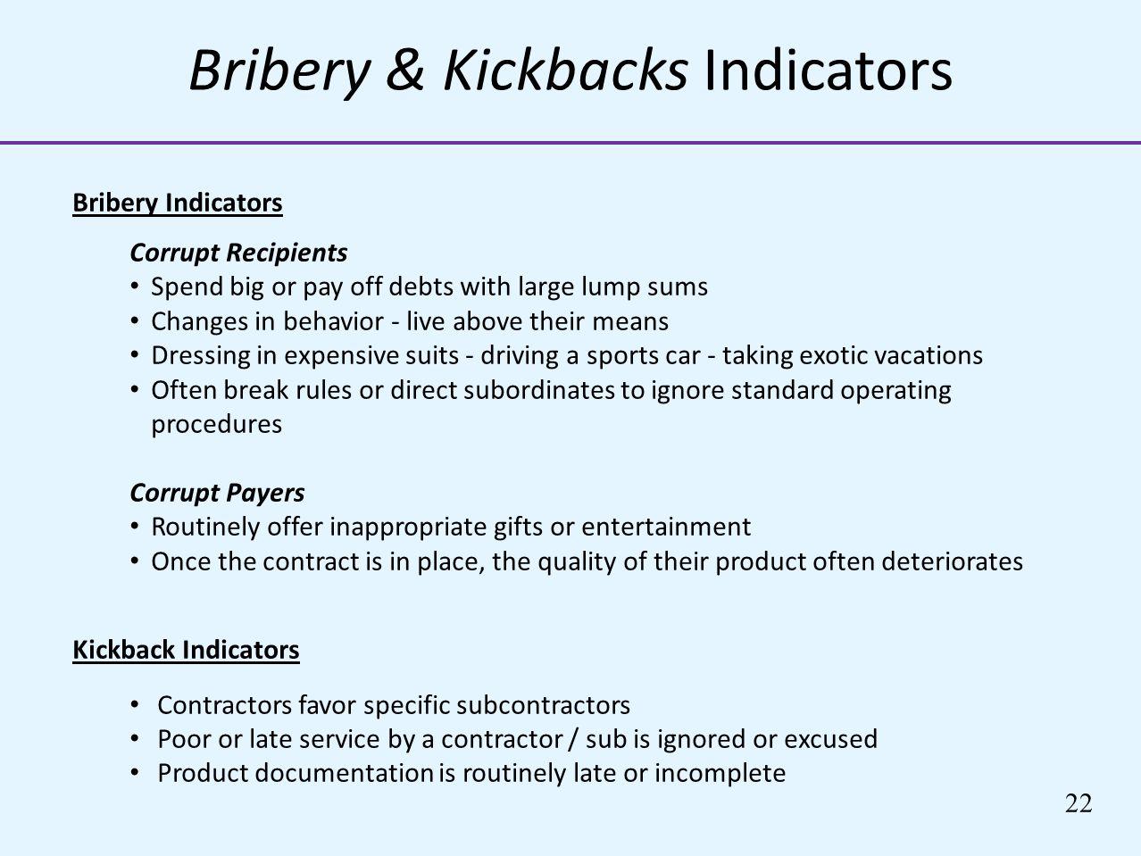 Bribery & Kickbacks Indicators