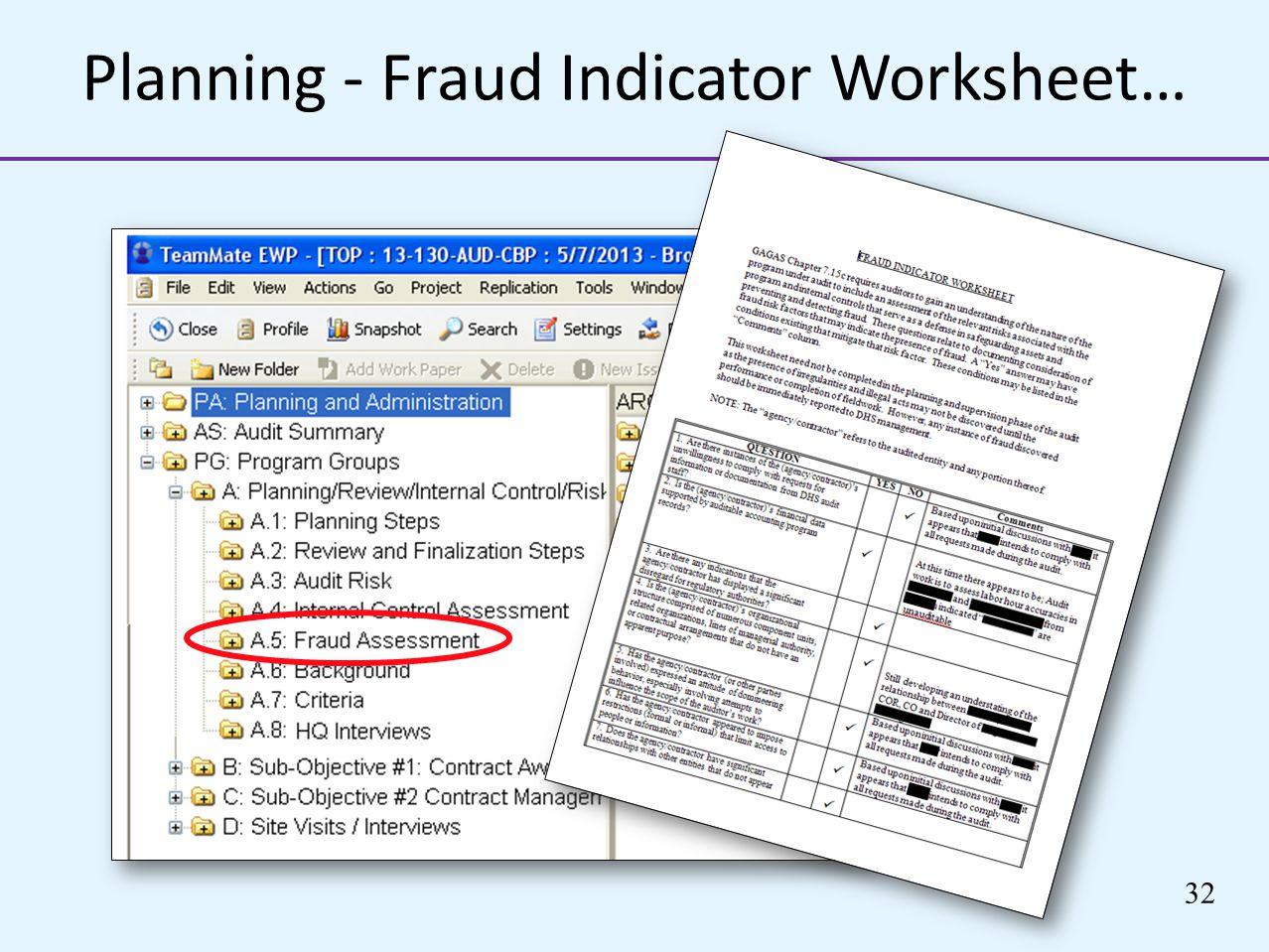 Planning - Fraud Indicator Worksheet…