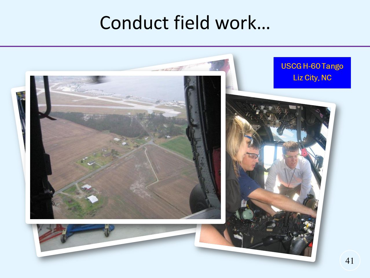 Conduct field work… USCG H-60 Tango Liz City, NC