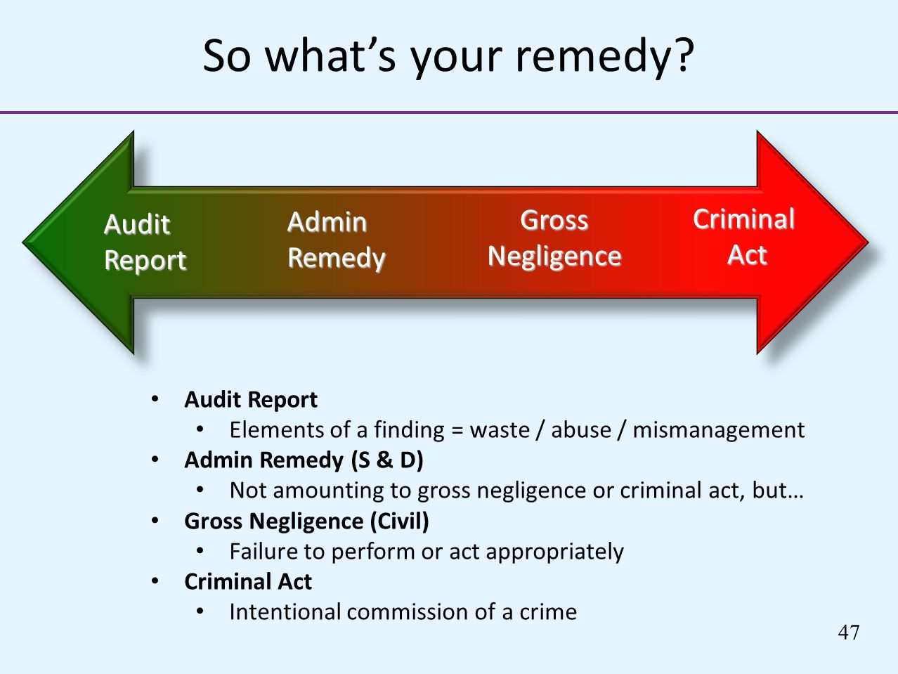 So what's your remedy Gross Negligence Criminal Admin Audit Act