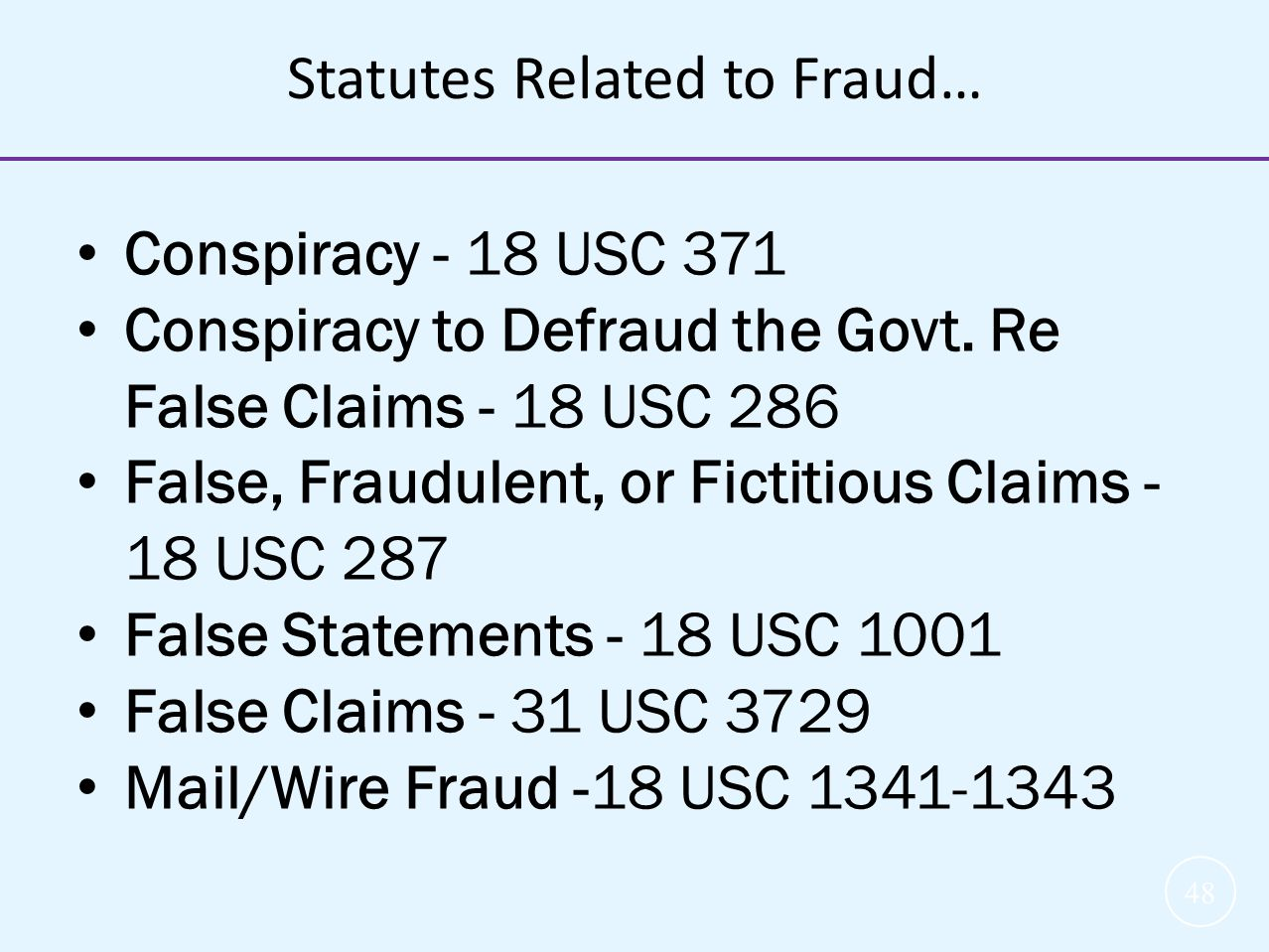 Statutes Related to Fraud…