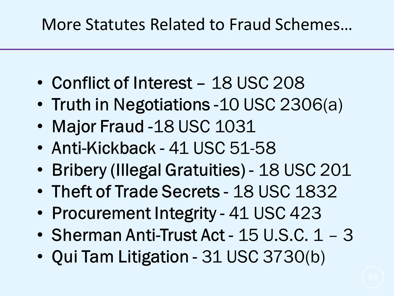 More Statutes Related to Fraud Schemes…