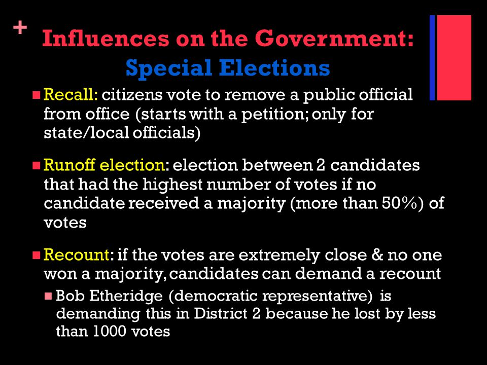 Influences on the Government: Special Elections