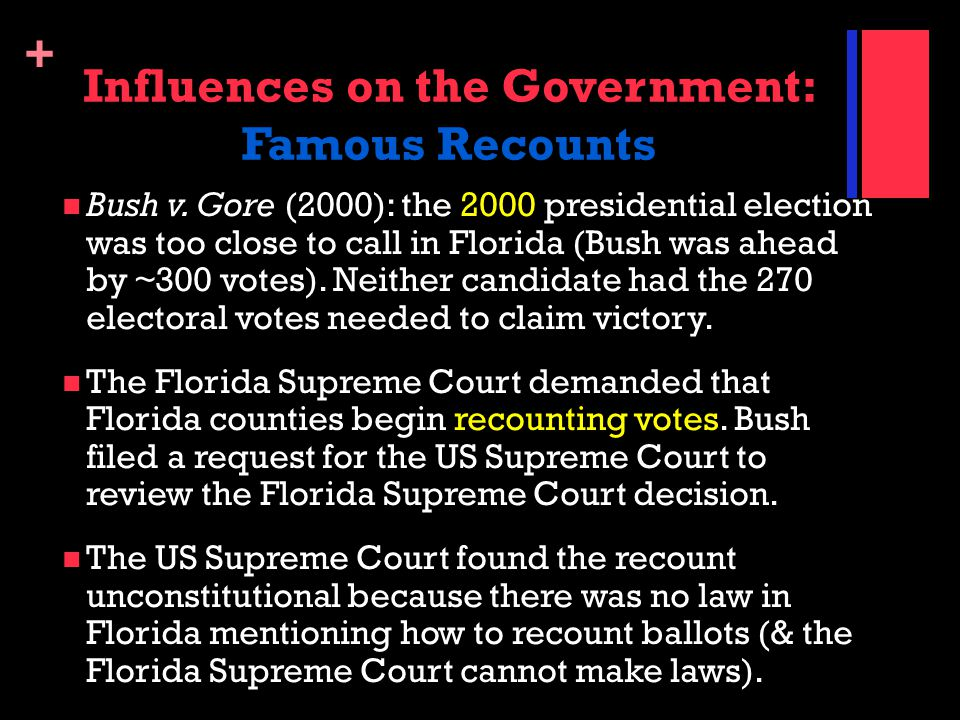 Influences on the Government: Famous Recounts