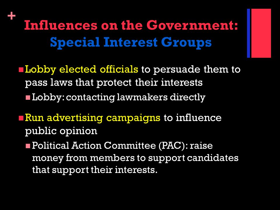 Influences on the Government: Special Interest Groups