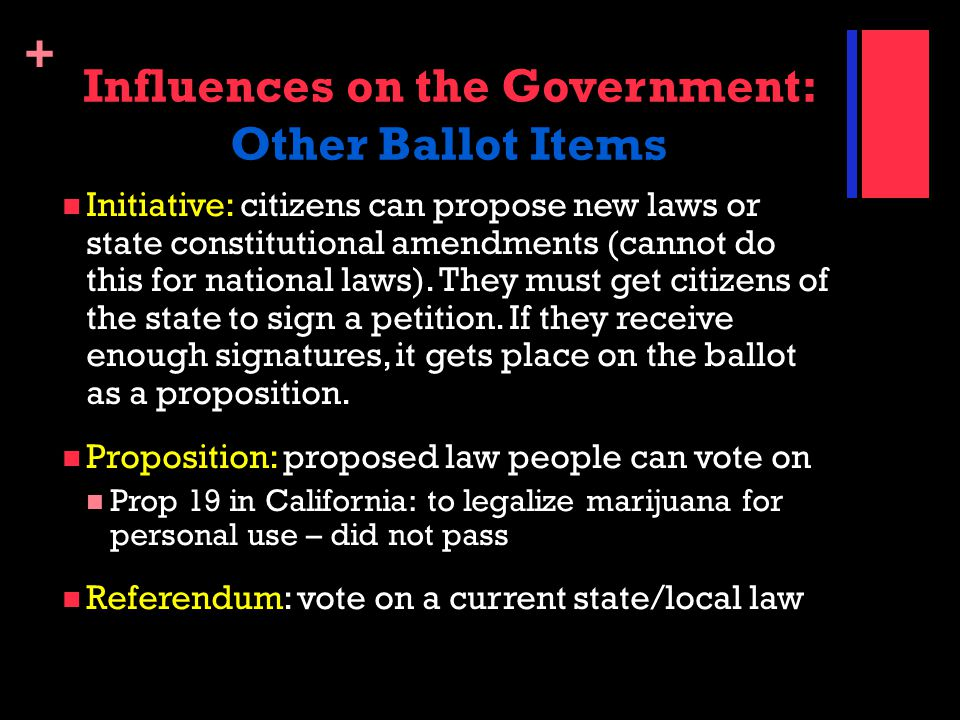 Influences on the Government: Other Ballot Items