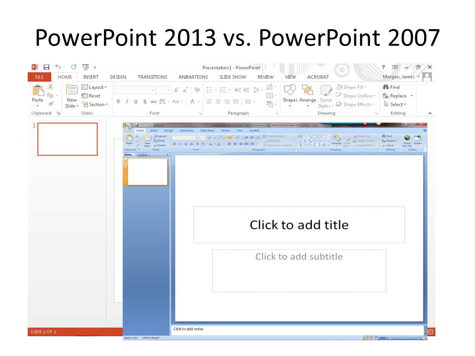 PowerPoint 2013 vs. PowerPoint 2007