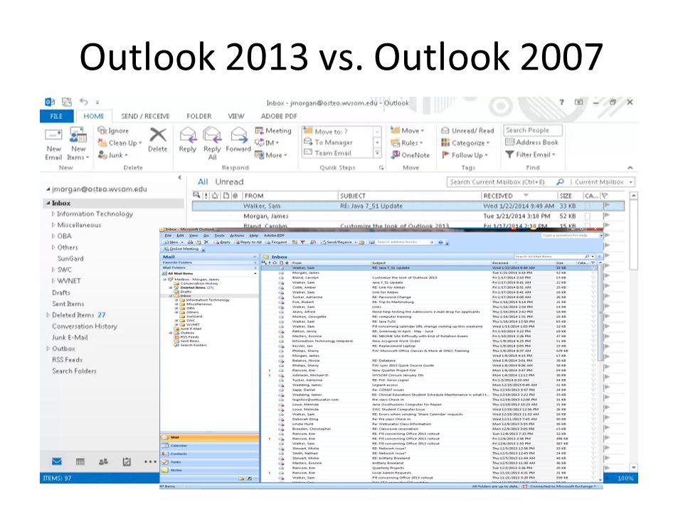 Outlook 2013 vs. Outlook 2007