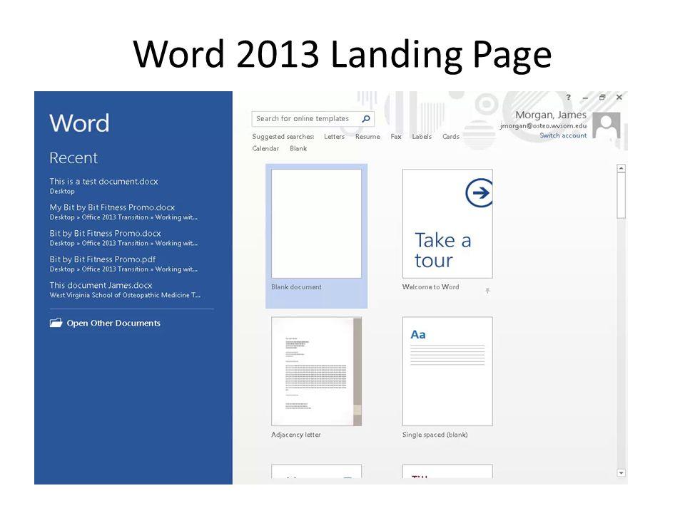 Word 2013 Landing Page