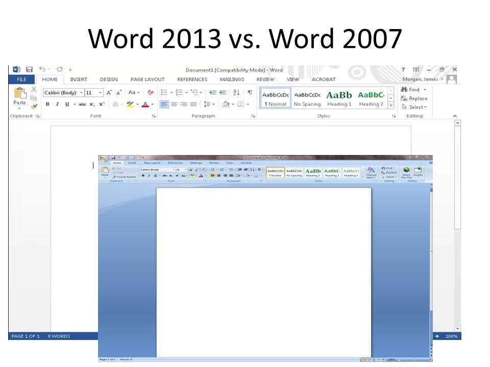 Word 2013 vs. Word 2007