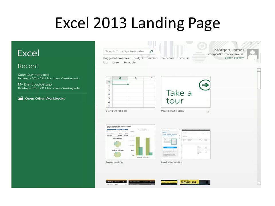 Excel 2013 Landing Page
