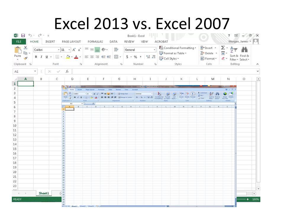 Excel 2013 vs. Excel 2007