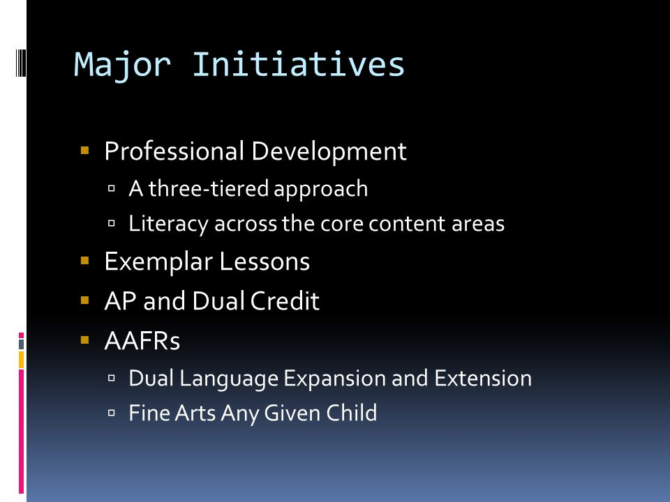 Major Initiatives Professional Development Exemplar Lessons