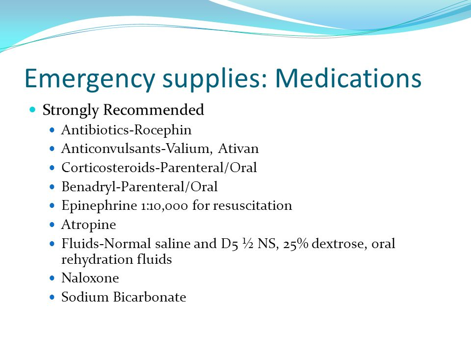 Emergency supplies: Medications