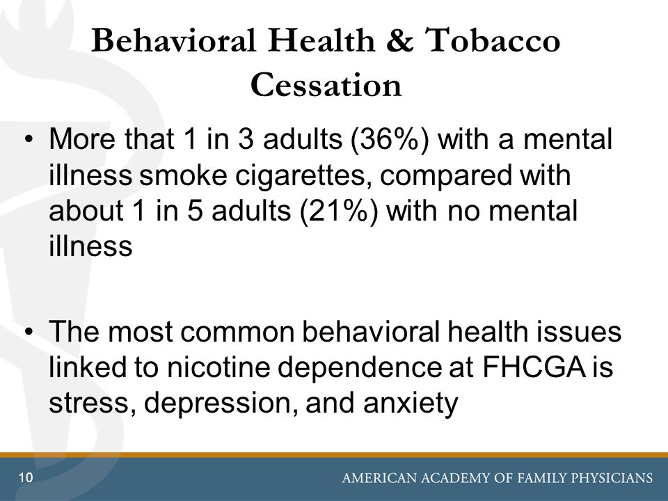 Behavioral Health & Tobacco Cessation