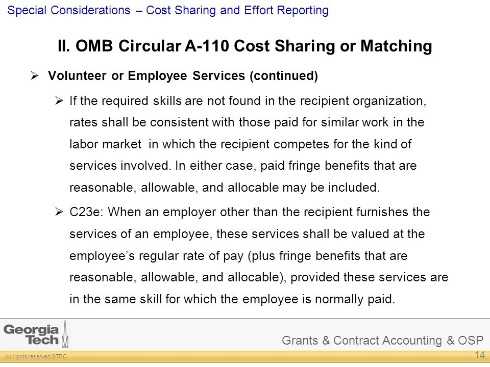 II. OMB Circular A-110 Cost Sharing or Matching