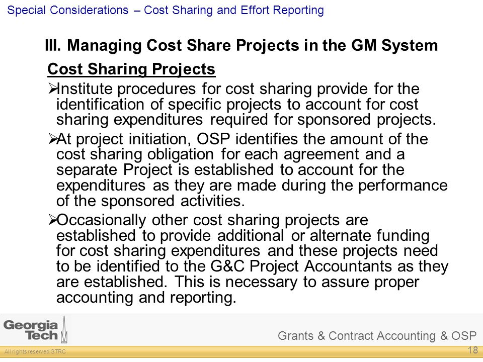 III. Managing Cost Share Projects in the GM System