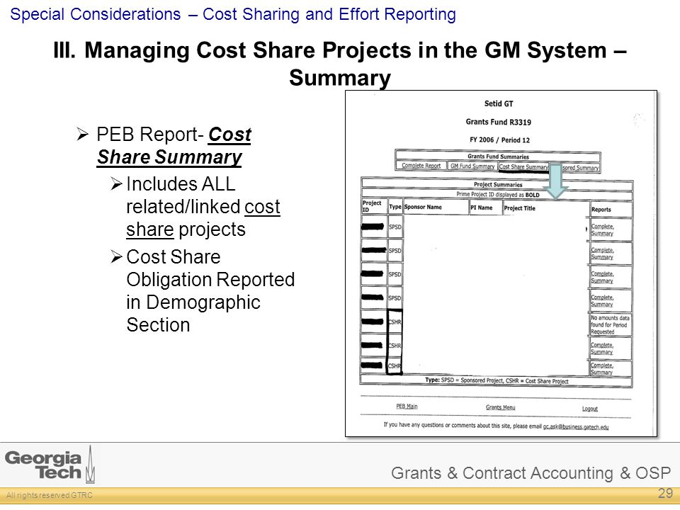 III. Managing Cost Share Projects in the GM System – Summary