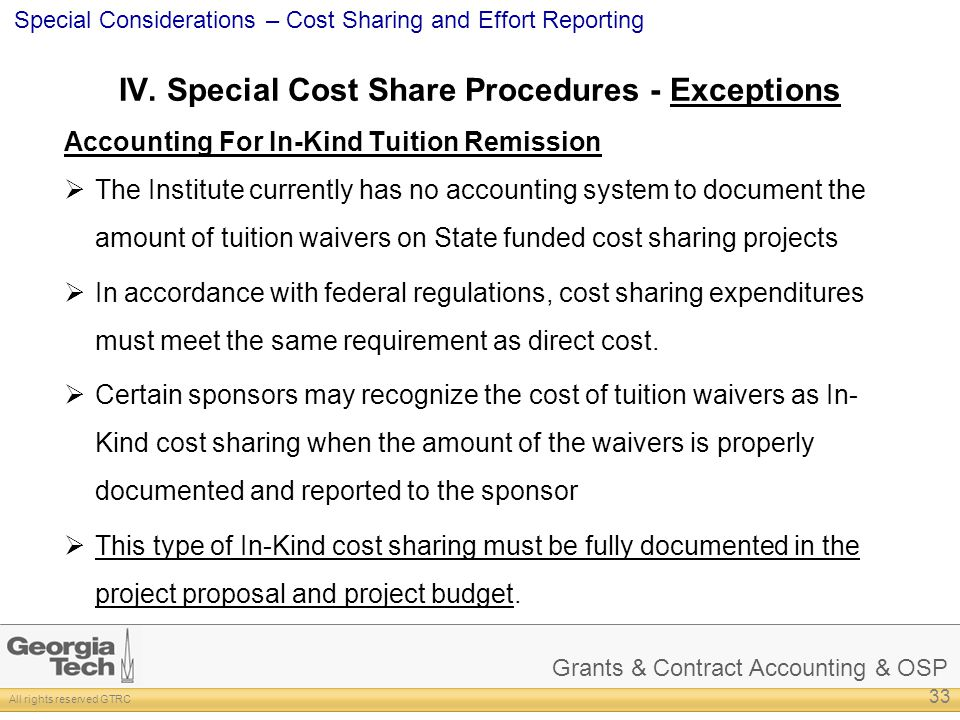 IV. Special Cost Share Procedures - Exceptions