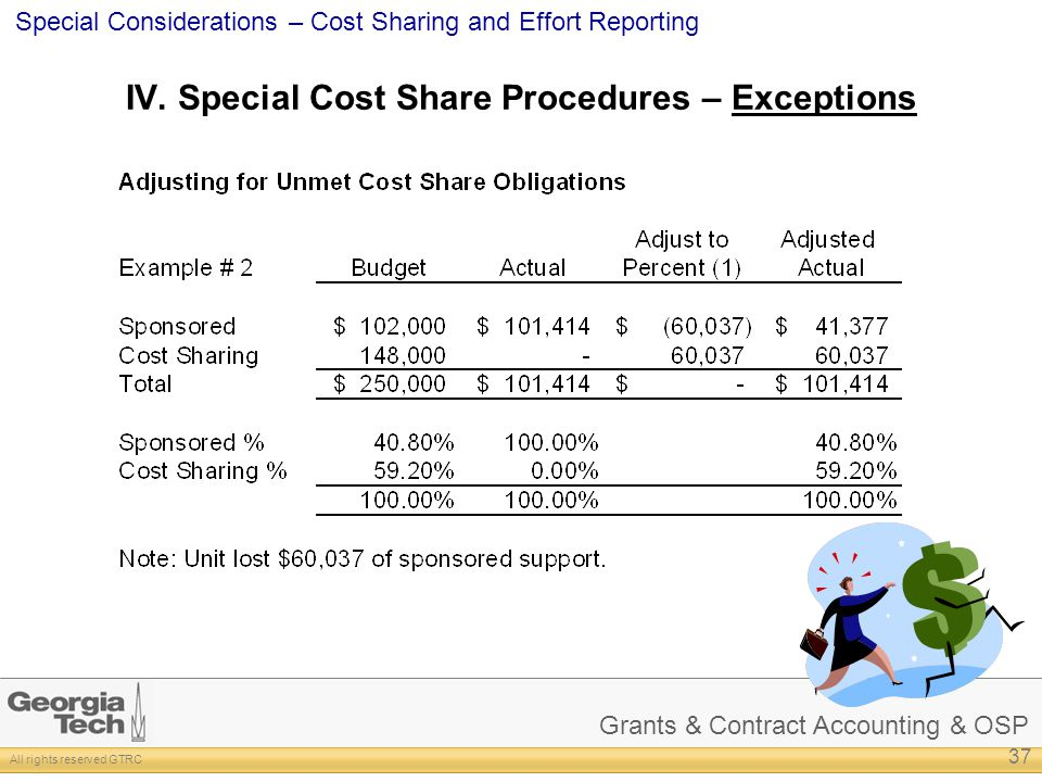 IV. Special Cost Share Procedures – Exceptions