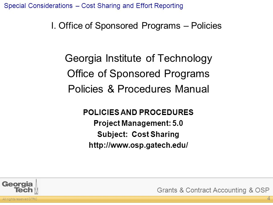 I. Office of Sponsored Programs – Policies