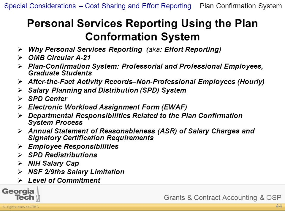 Personal Services Reporting Using the Plan Conformation System
