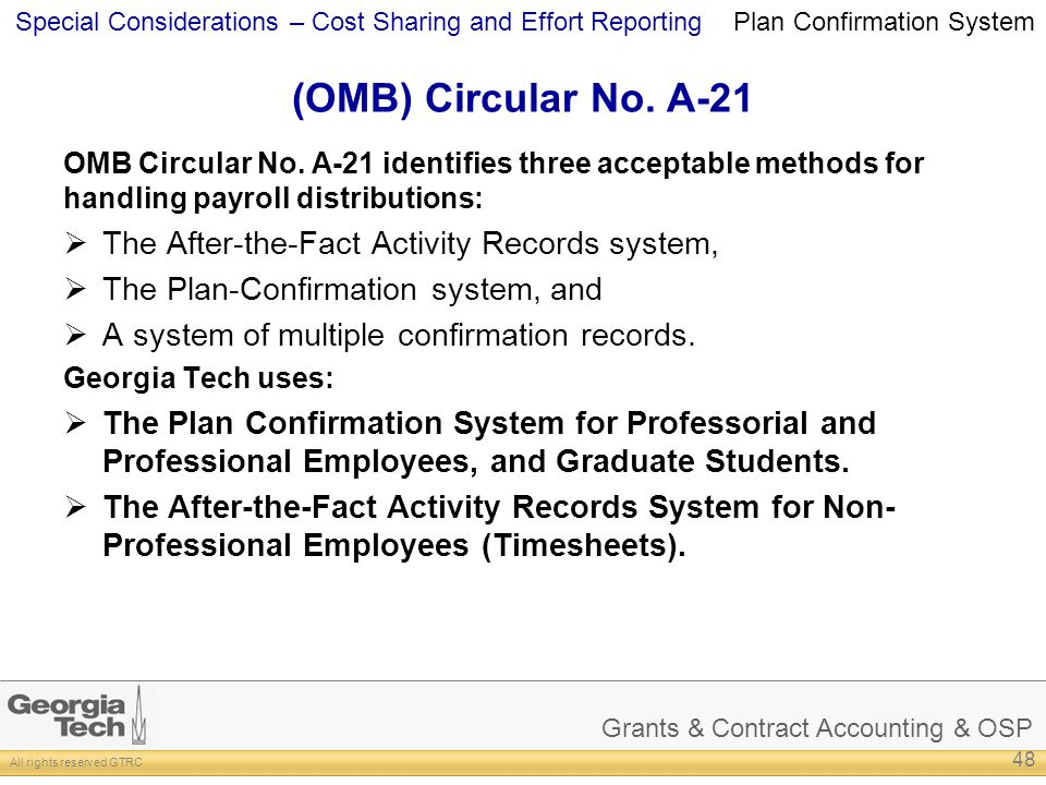 (OMB) Circular No. A-21 The After-the-Fact Activity Records system,
