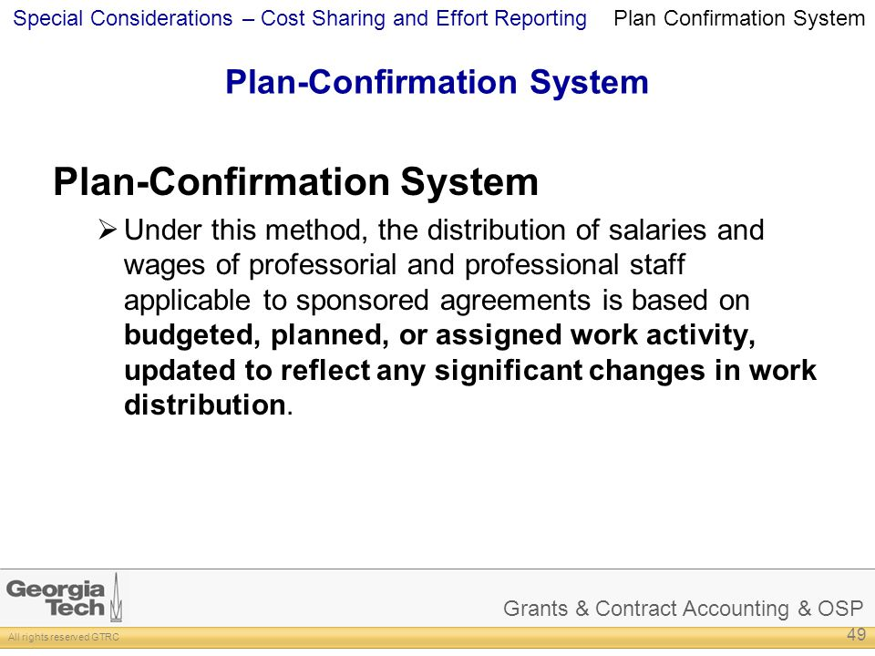 Plan-Confirmation System