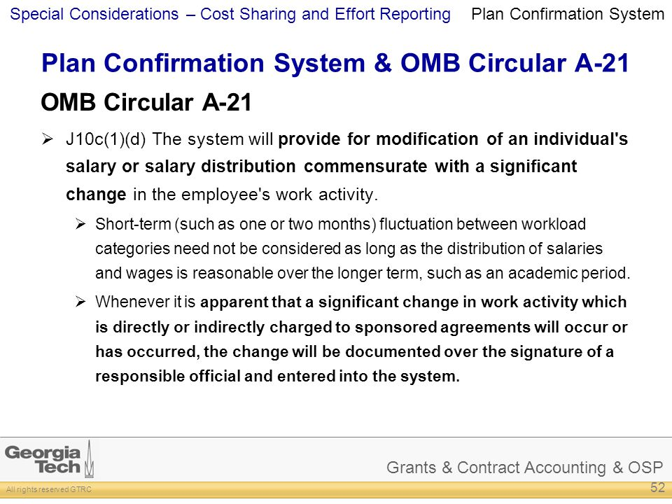 Plan Confirmation System & OMB Circular A-21