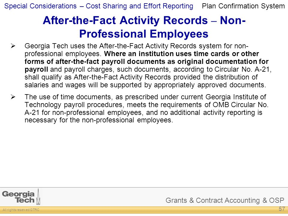 After-the-Fact Activity Records – Non-Professional Employees