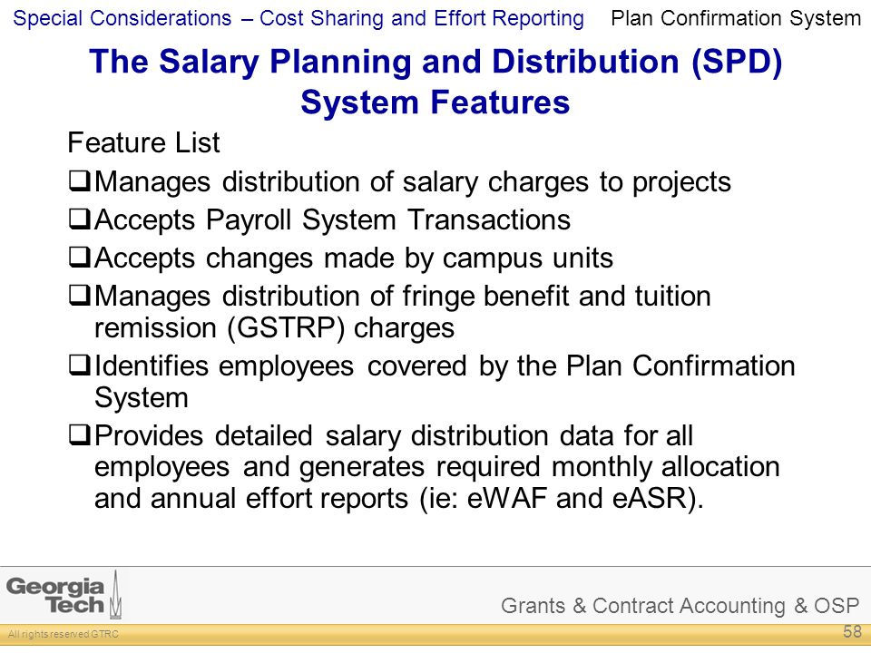The Salary Planning and Distribution (SPD) System Features