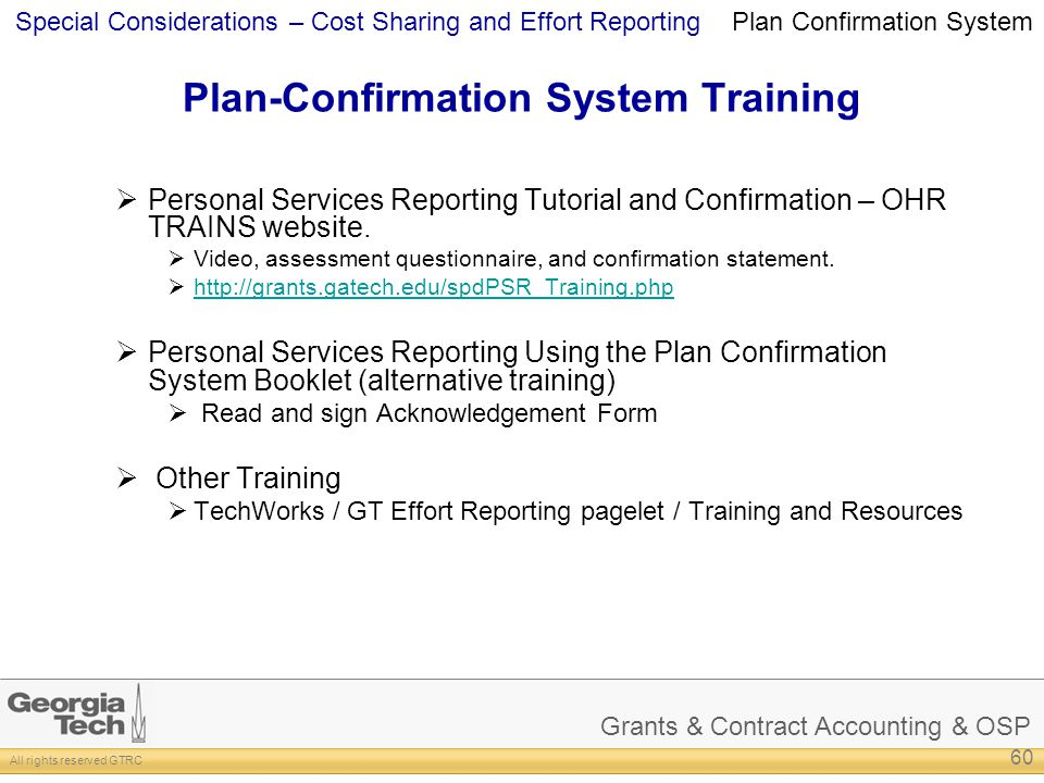 Plan-Confirmation System Training