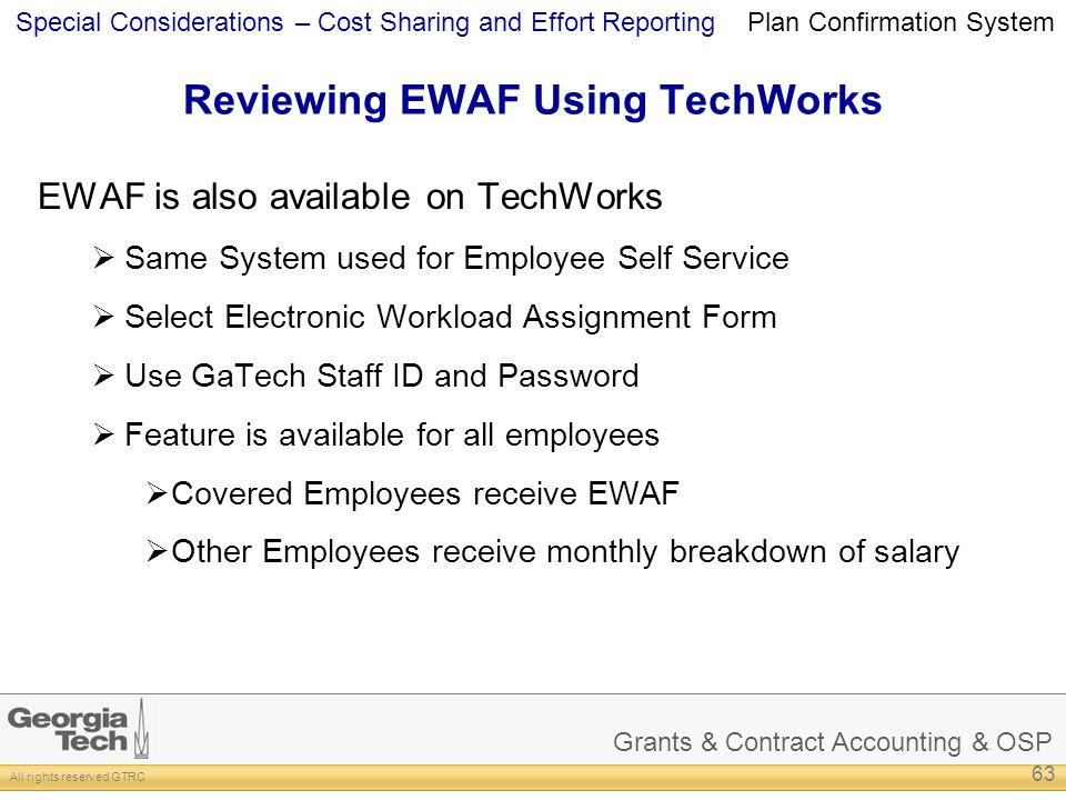 Reviewing EWAF Using TechWorks