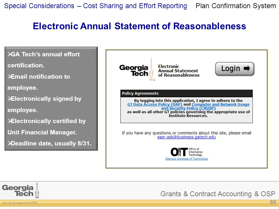 Electronic Annual Statement of Reasonableness