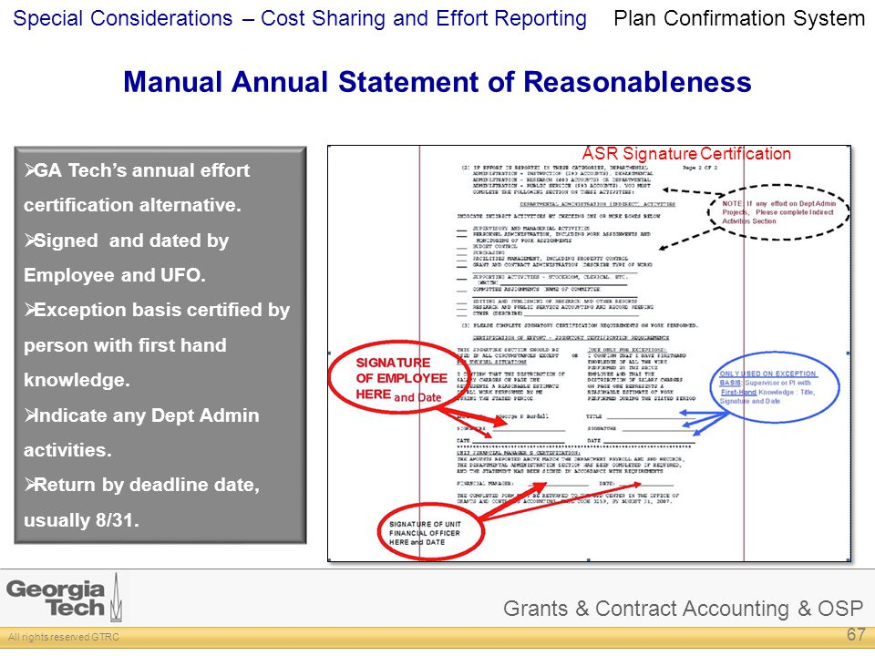 Manual Annual Statement of Reasonableness