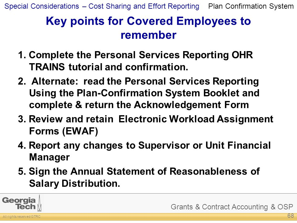 Key points for Covered Employees to remember