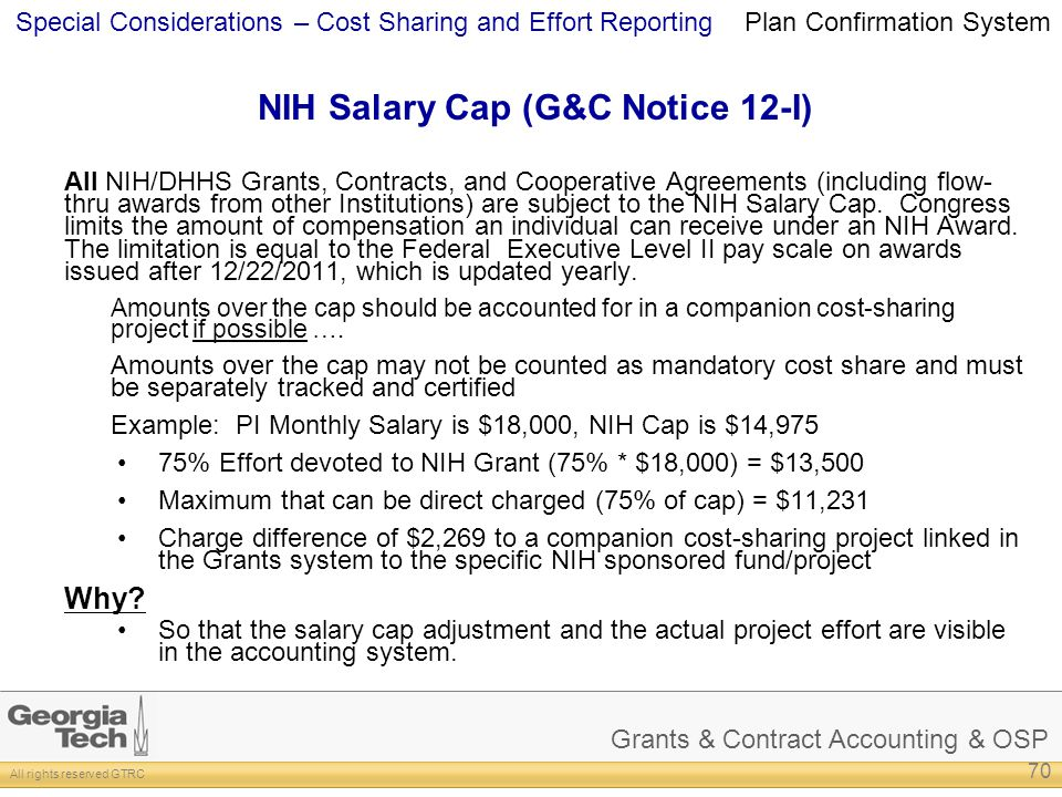 NIH Salary Cap (G&C Notice 12-I)