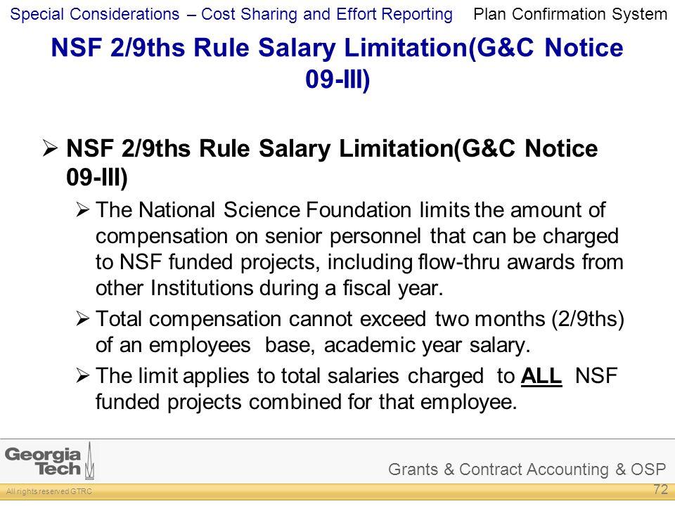 NSF 2/9ths Rule Salary Limitation(G&C Notice 09-III)