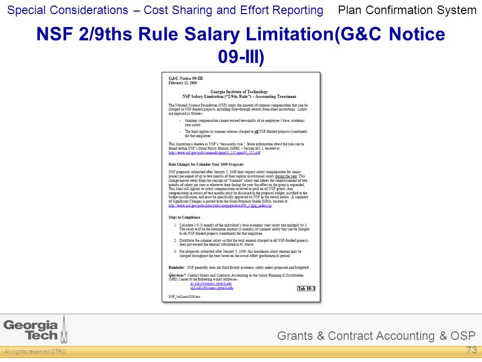 NSF 2/9ths Rule Salary Limitation(G&C Notice 09-III)